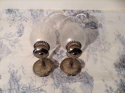 Pair Vintage French Silver Metal Wall Lights / Sconces, Glass Shades (3049)