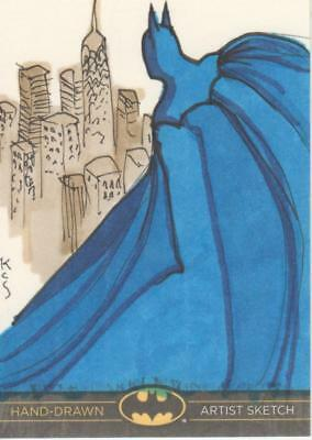 DC Comics Batman: The Legend Color Sketch Card by KCS - Batman Looks Over City