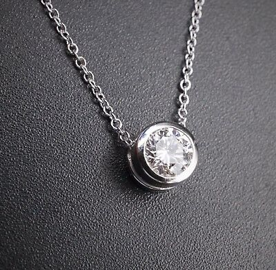 """14k White Gold 0.42ct G SI2 Diamond Solitaire Pendant Necklace 16"""" 17"""" NG407"""