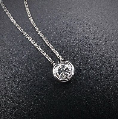 """18k White Gold 1 1/4ct Natural Diamond Solitaire Pendant Necklace 16"""" 1AR NG516"""