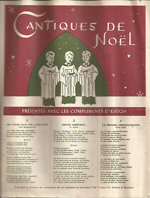 Vintage Christmas Songs Document, Gift Of Eaton Store