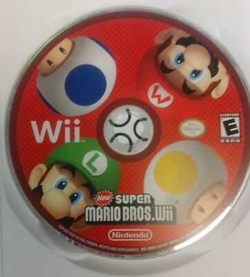 New Super Mario Bros. Wii (Nintendo Wii, 2009)Disc Only Free Shipping Resurfaced