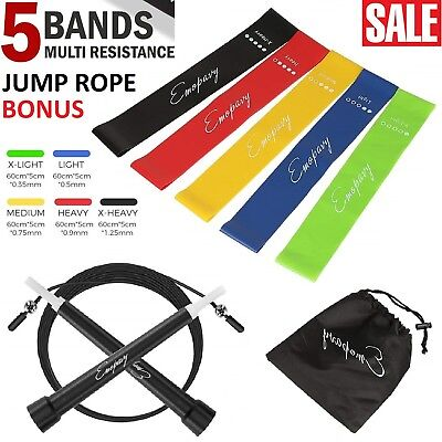 Resistance Loop Bands Tubes Set Fitness Workout Yoga Booty Exercise Stretching