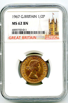 1967 Great Britain 1/2 P Half Penny Ngc Ms62 Bn Last Year Of Issue Of Halfpenny