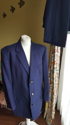 Vtg Gieves and Hawkes Royal Thames Yacht Club Navy Blue Blazer Suit trousers 43r
