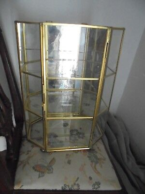A Beautiful 8 Sided Glass And Brass  Display  Case / Box  Mirrored Back Vgc