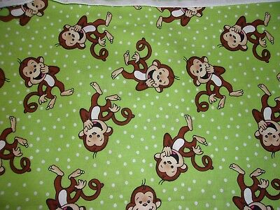 New Hand Made Little Monkey's on Lime Fitted Crib/Toddler Sheet