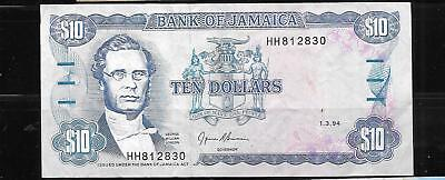 JAMAICA #71e 1994 $10 DOLLARS VF CIRC OLD BANKNOTE PAPER MONEY CURRENCY BILL