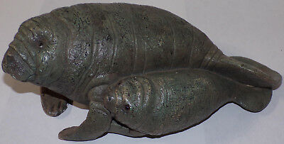 "1988 UDC Animal Classics Manatee Sea Cow Mom with Baby Figure 11"" long"