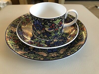 "Dunoon Strawberry Thief William Morris Design Cup, Saucer & 8"" Plate"