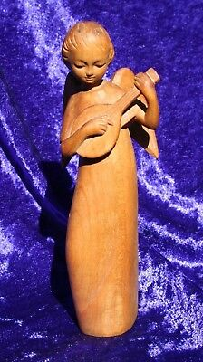Beautiful Vintage Carved Wooden ANGEL Playing a Lute