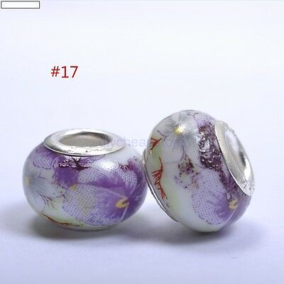 5pcs DIY Ceramic / Procelain European Charm Loose Craft Beads  #17