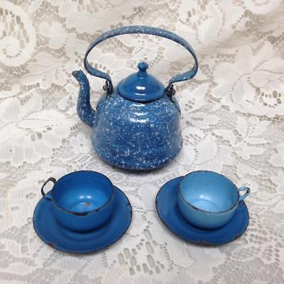 Antique, Rare, 6pc French Blue Spotted Graniteware  Enamelware Childs Tea Set
