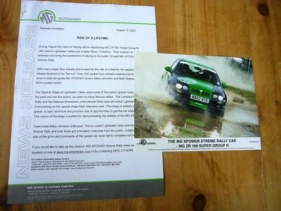 MG ZR 160 Group N rally car press release & photo 2002, excellent order