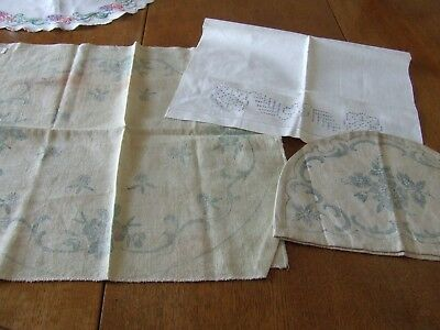 3 Vintage Items Transferred for Hand Embroidery