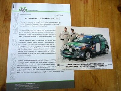 MG ZR rally car & Tony fardine press release & photo 2002, excellent order