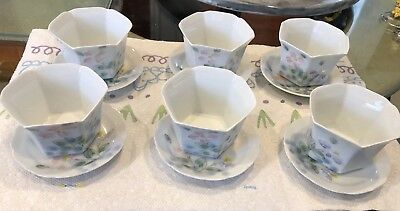 Antique Japan Porcelain Matching Set Of 6 Tee Set Hand Painted Soup or Tee Cup