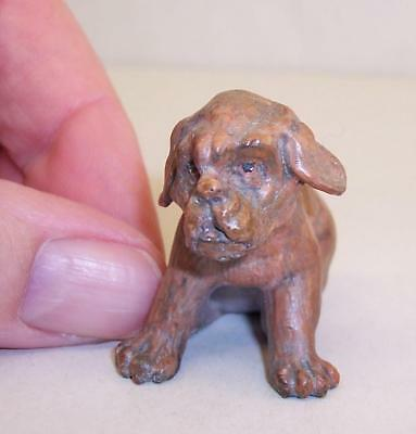 CUTE Vintage COLD PAINTED BRONZE Metal BULLDOG Puppy Dog MINIATURE