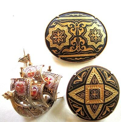 """Beautiful Vintage Damascene Pin Lot Of 3 Colorful Pins Oldies 1 3/8"""""""