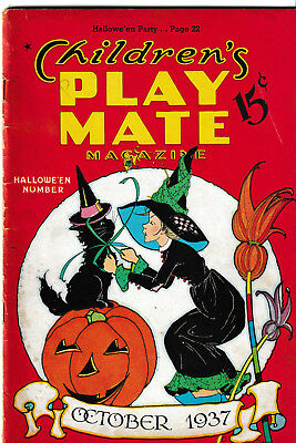 1936 & 1937 Halloween Play Mate Magazines Fern Peat Art Covers And Stories