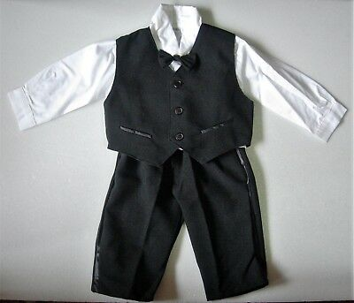 BABY BOY SUIT Tuxedo Black Formal Occasion OUTFIT Wedding Christening Clothing