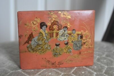 1900s chinese red papier mache lacquer hinged box - stationary or make up