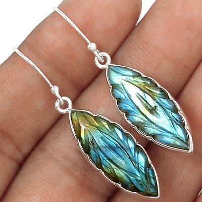 Hand Carved - Labradorite 925 Sterling Silver Earrings Jewelry AE6485