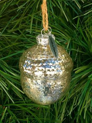 Vintage Silver Smith & Hawken Antique Mercury Glass Acorn --Christmas Ornament