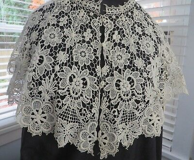"Gorgeous Antique Vtg  Victorian Schiffli Lace 11"" Wide Large Bertha Collar"