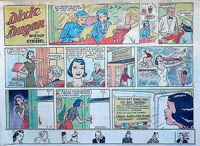 Dixie Dugan by McEvoy & Striebel - lot of 9 half-page Sunday comics - late 1958