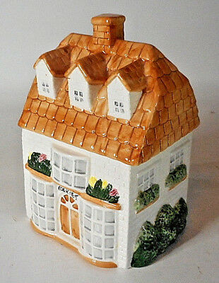 "Vintage 3 STORY OFF WHITE BRICK  HOUSE 9"" T House Cookie Jar"