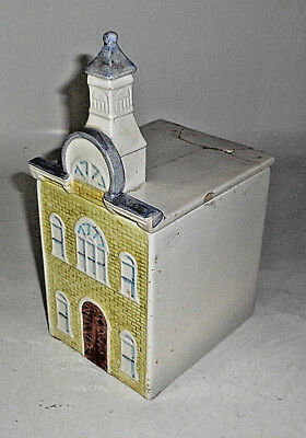 "Vintage MANCER YELLOW 11"" T House TOWN HALL Cookie Jar ITALY CERAMIC"