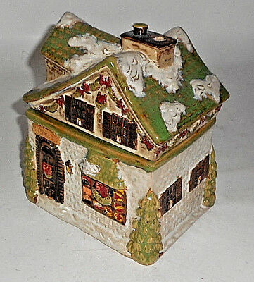 "Vintage Cib Holiday Sugar Cookies Snow Covered Roof Cookie Jar 7 1/2"" Old Inn"
