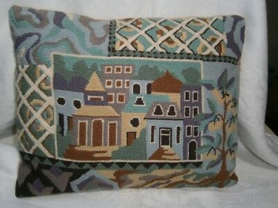 Vintage  Hand Worked Wool Petit Point Tapestry Cushion In Town Cottages Design