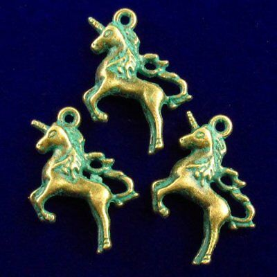 3pcs Carved Brass Bronze Horse Pendant Bead 25x15x5mm N40496
