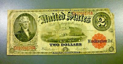 Series 1917 Red Seal Legal Tender $2 Two Dollar US Note No Reserve!