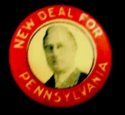 Political FDR PinBack PA Button ROOSEVELT Pin PRESIDENT Badge NEW DEAL 1934 NRA