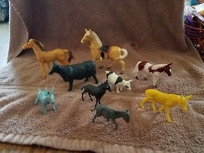 "1960s Animals 1"" to 3"" plastic horses donkeys cows"