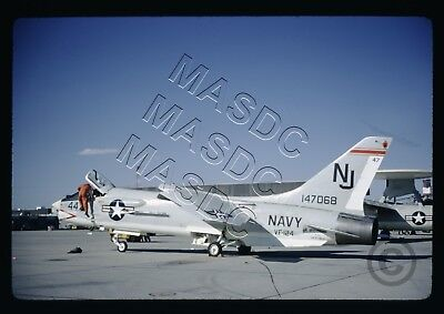 35mm Kodachrome Aircraft Slide - F-8D Crusader BuNo 147068 NJ447 VF-124 - Jun 67