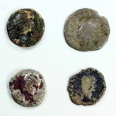 Four (4) Silver Ancient Roman Coins c.100 - 375 A.D. Exact Lot Shown 3114