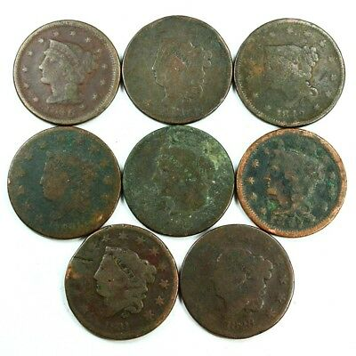 Group Lot of 8 Early U.S. Large Cents - Exact Lot Shown 3028