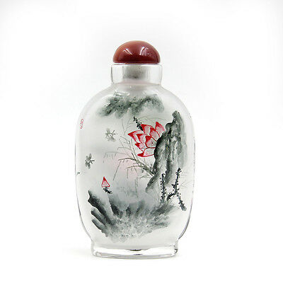 CHINESE INSIDE HAND PAINTED Lotus Butterfly SNUFF BOTTLE