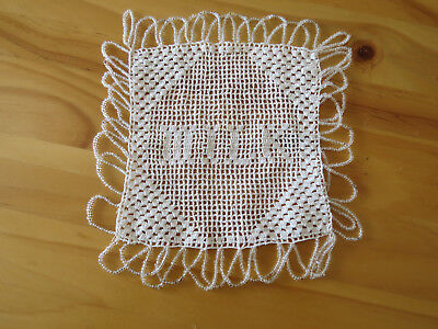 Vintage Filet Crochet **Milk** with Glass Beads Jug Cover
