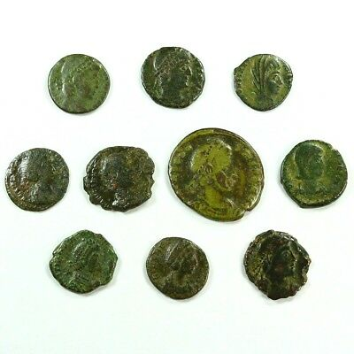 Ten (10) Nicer Ancient Roman Coins c. 100 - 375 A.D. Exact Lot Shown rm3309