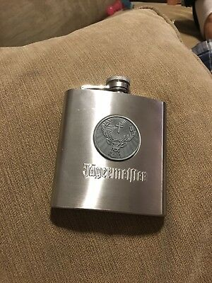 Jagermeister Stainless Steel Flask 6 ounce  ~ Deer Head Logo ~ Free Shipping
