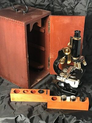 Antique Spencer Monocular Microscope Brass Fittings With Box