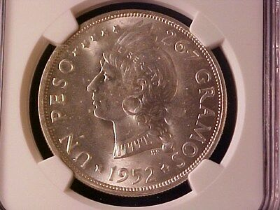 Dominican Republic 1 Peso Silver Crown 1952 Ms-64 Ngc Choice