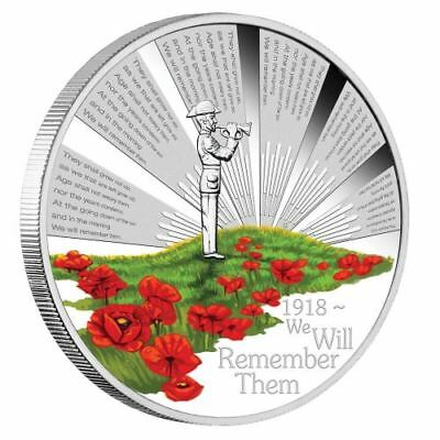 1oz Australien ANZAC Spirit anniv. 100 years WW1 color PP 2018 with Box and CoA