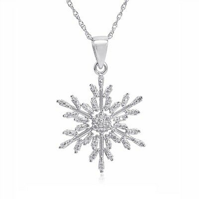 Diamond Snowflake Pendant-Necklace in .925 Sterling Silver