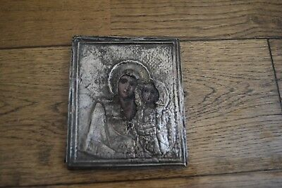 19th C mini Russian Orthodox Solid Silver + wood icon Virgin Mary + Child Jesus